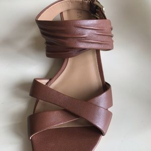 Talbots Leather Strappy Ankle Wrap Sandals